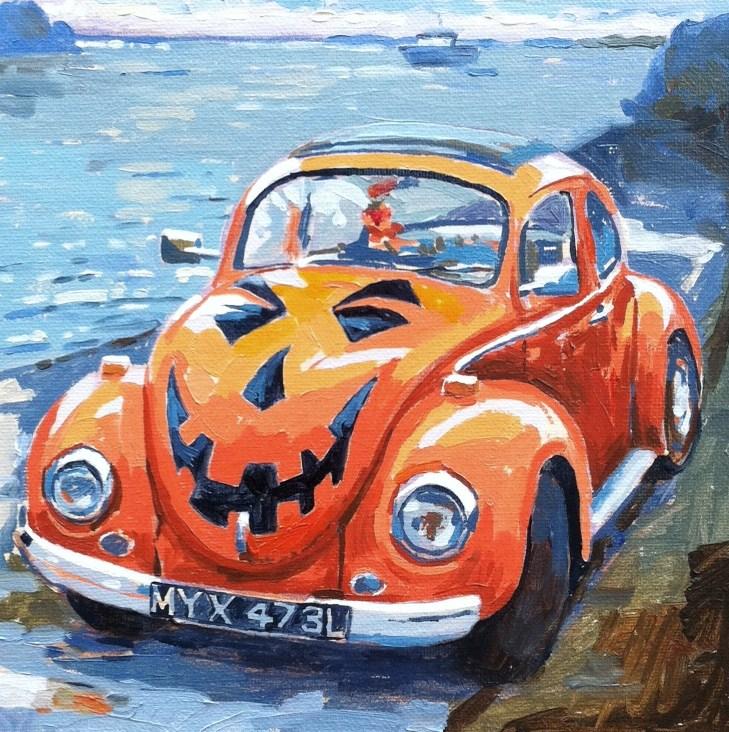 """Halloween bug"" original fine art by Haidee-Jo Summers ROI"