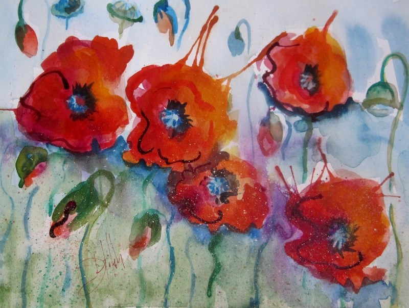 """A Brust of Poppies"" original fine art by Delilah Smith"