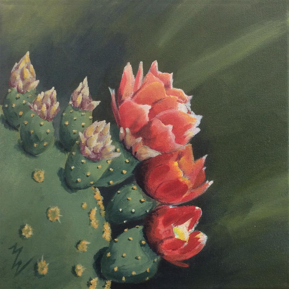"""Cactus Bloom 2"" original fine art by Michelle Wolfe"