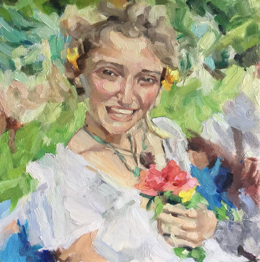 """""""Laughing girl with flowers"""" original fine art by Paula Howson-Green"""