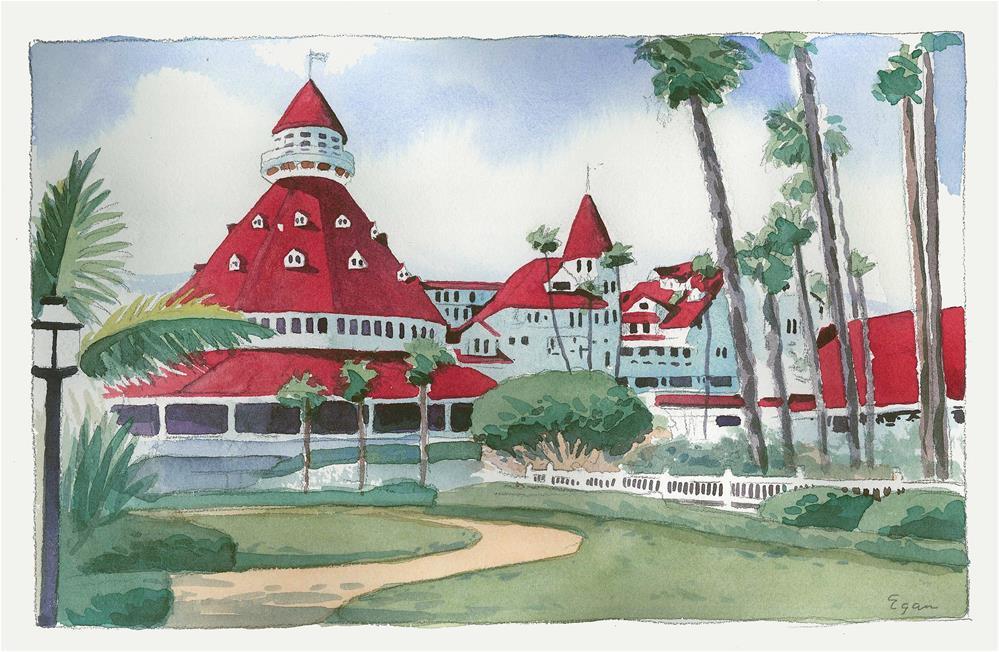"""""""Hotel Del Coronado"""" original fine art by Tim Egan"""