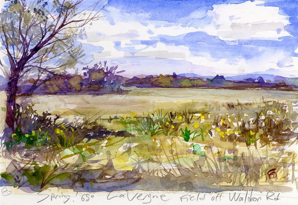 """Spring Field in LaVergne TN Watercolor"" original fine art by Chris Ousley"