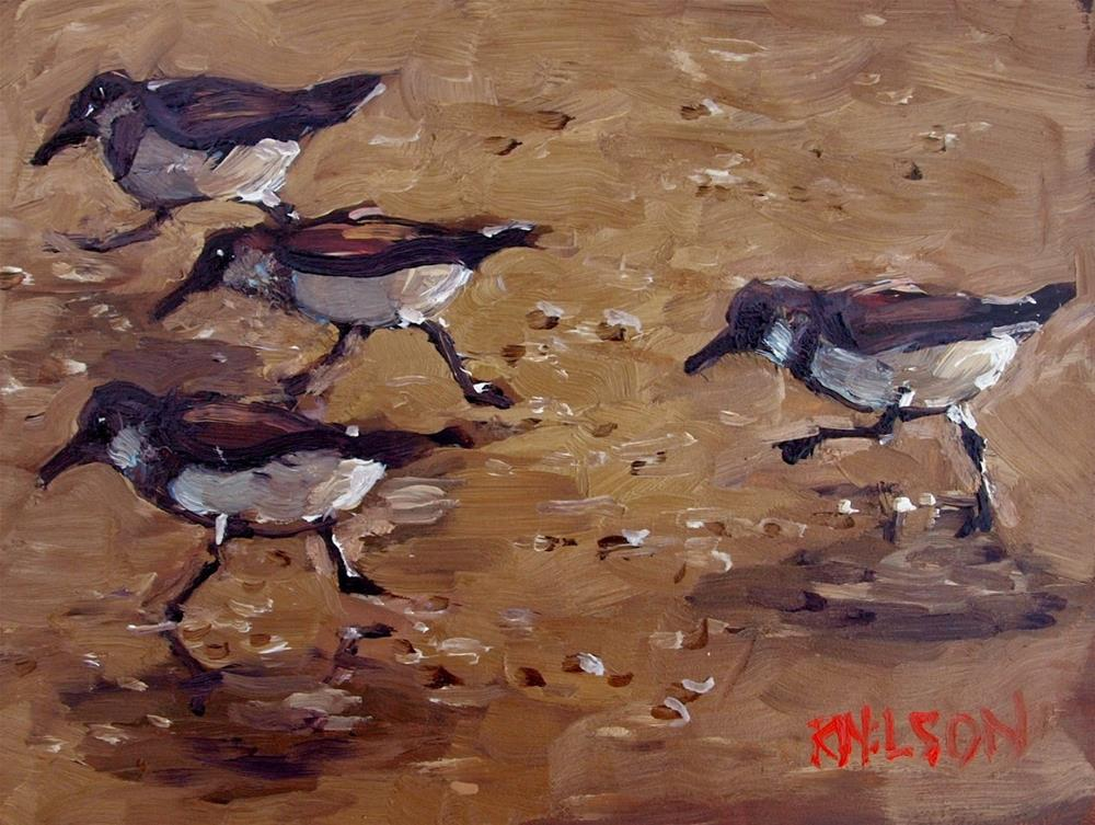 """Movement in Shorebirds"" original fine art by Rick Nilson"