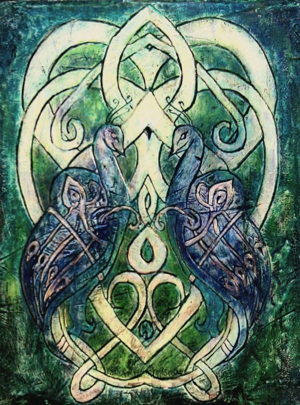 """Celtic Peacocks"" original fine art by D. Renee Wilson"