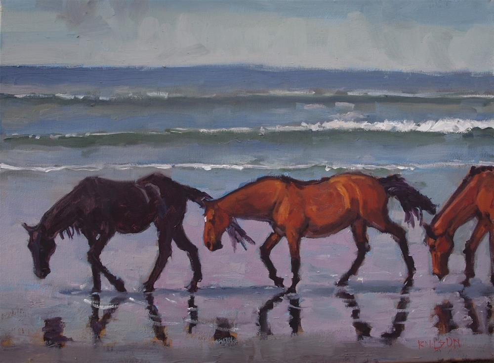 """Corova Beach Horses"" original fine art by Rick Nilson"