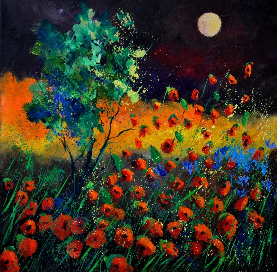 """Red poppies 774111"" original fine art by Pol Ledent"