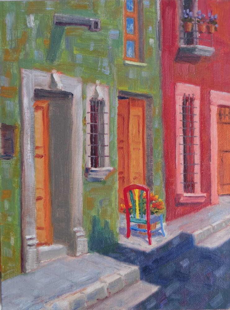 """Red Chair with Flowers"" original fine art by Richard Kiehn"