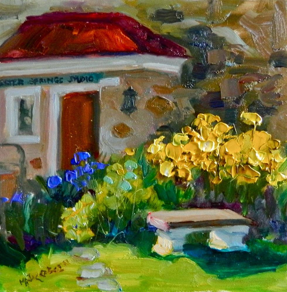 """Yellow Irises, plein air, 8x8, oil on board, Yellow Springs, PA., Yellow springs historic village,"" original fine art by Maryanne Jacobsen"