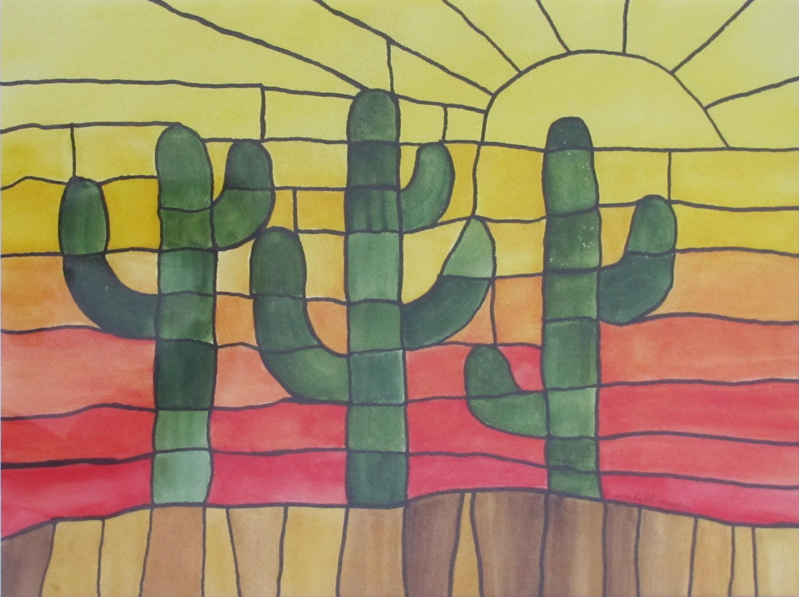 """Cactus at Sunset"" original fine art by Michelle Wolfe"