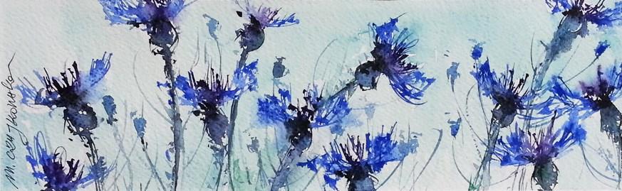 """Cornflowers"" original fine art by Marlena Czajkowska"