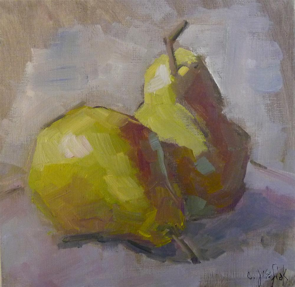 """Pair of Pears"" original fine art by Carol Josefiak"