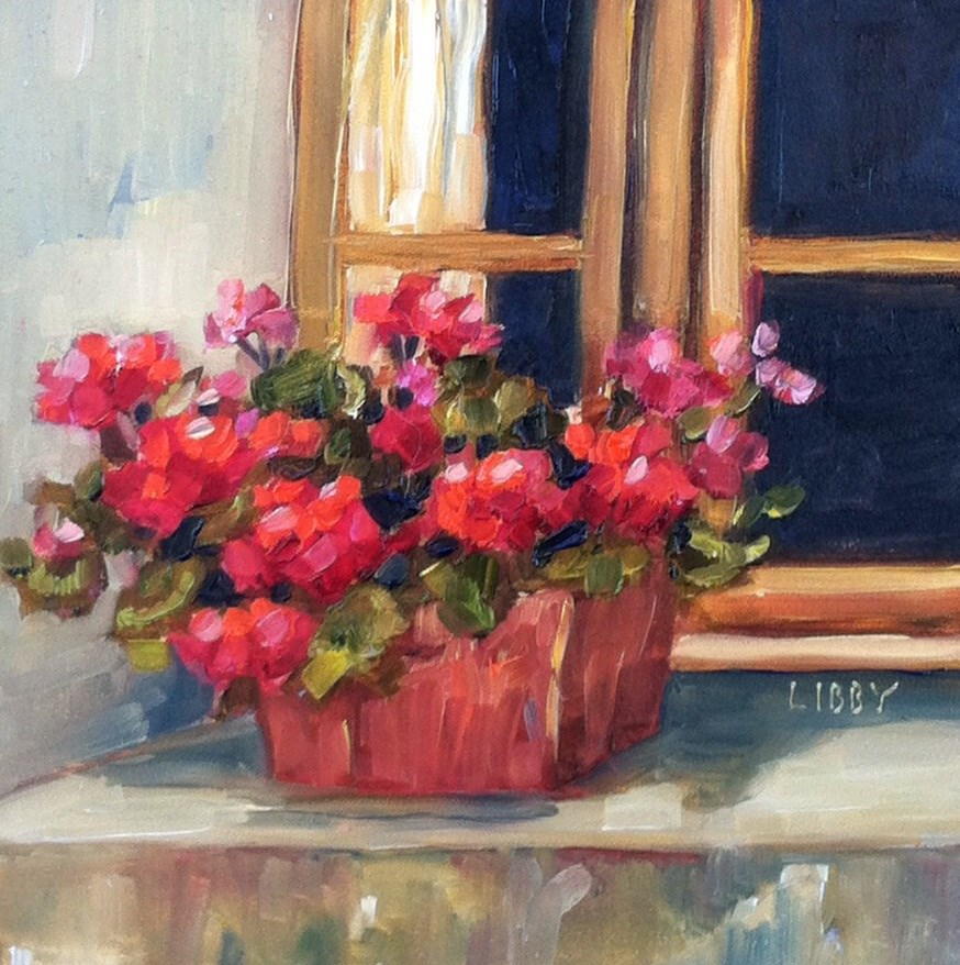 """Geranium Staging"" original fine art by Libby Anderson"