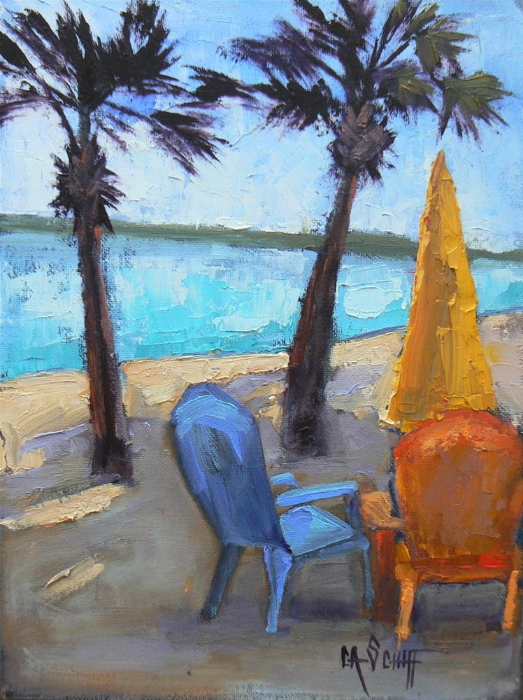 """Landscape Daily Painting, Tropical Umbrella and Chairs II"" original fine art by Carol Schiff"