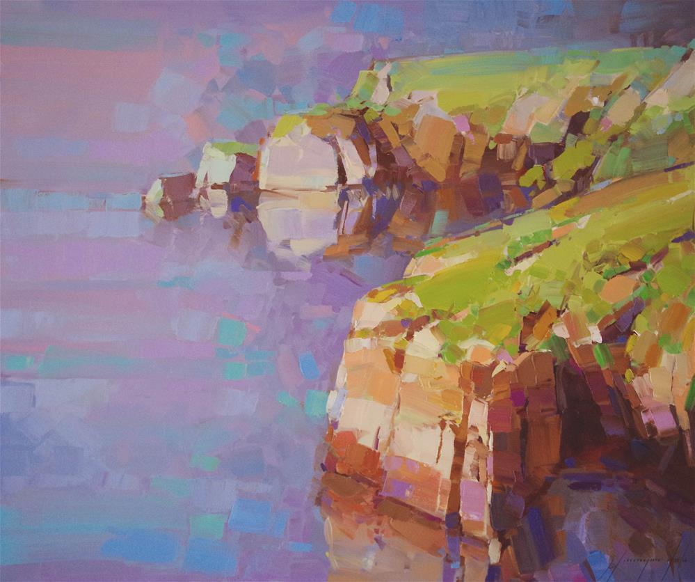 """The Cliffs Original oil Painting in Handmade Palette Knife"" original fine art by V Y"