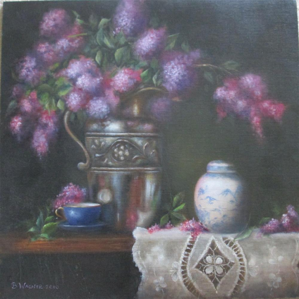 """Lilacs and Silver"" original fine art by Barbara Wagner"
