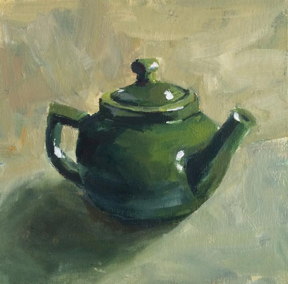 """""""Green Teapot"""" original fine art by Shannon Bauer"""
