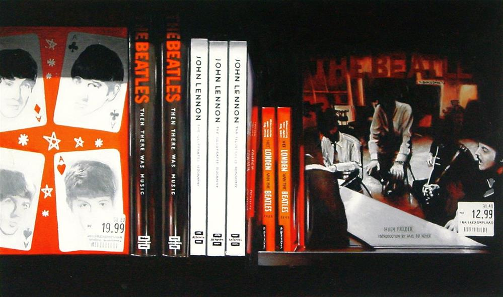 """Four Aces- Still Life Painting Of Bookshelf With Books On Beatles"" original fine art by Gerard Boersma"