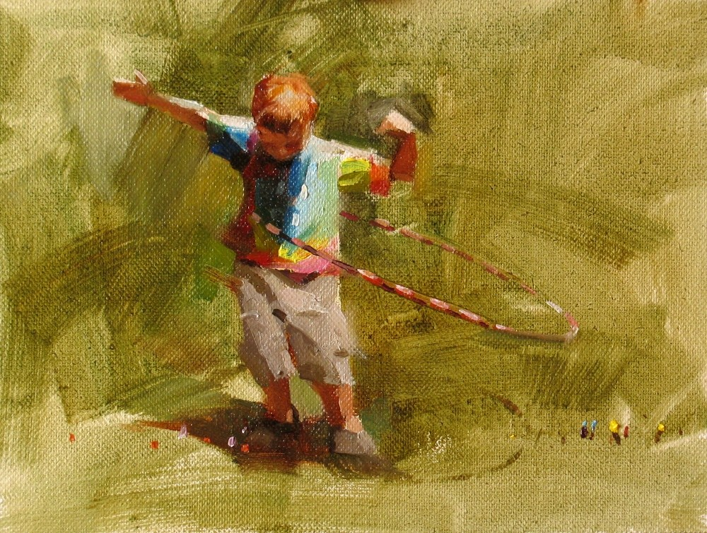 """Hula Ring Boy"" original fine art by Qiang Huang"