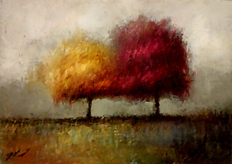 """Red and Yellow Trees"" original fine art by Bob Kimball"