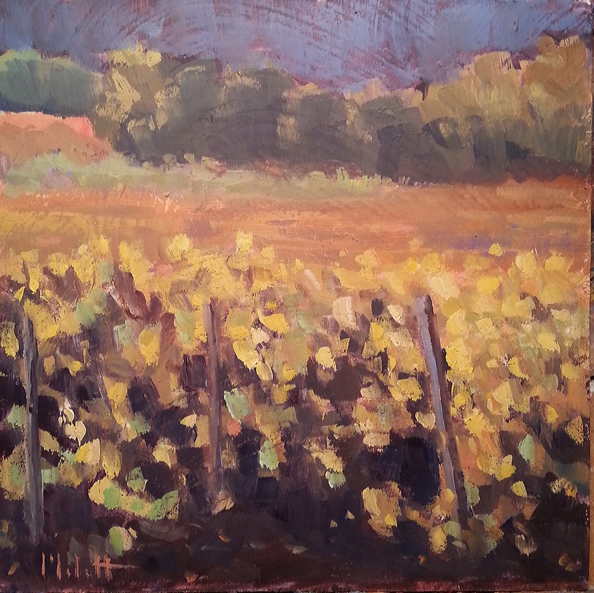 """Vineyard in Autumn Landscape Oil Painting"" original fine art by Heidi Malott"