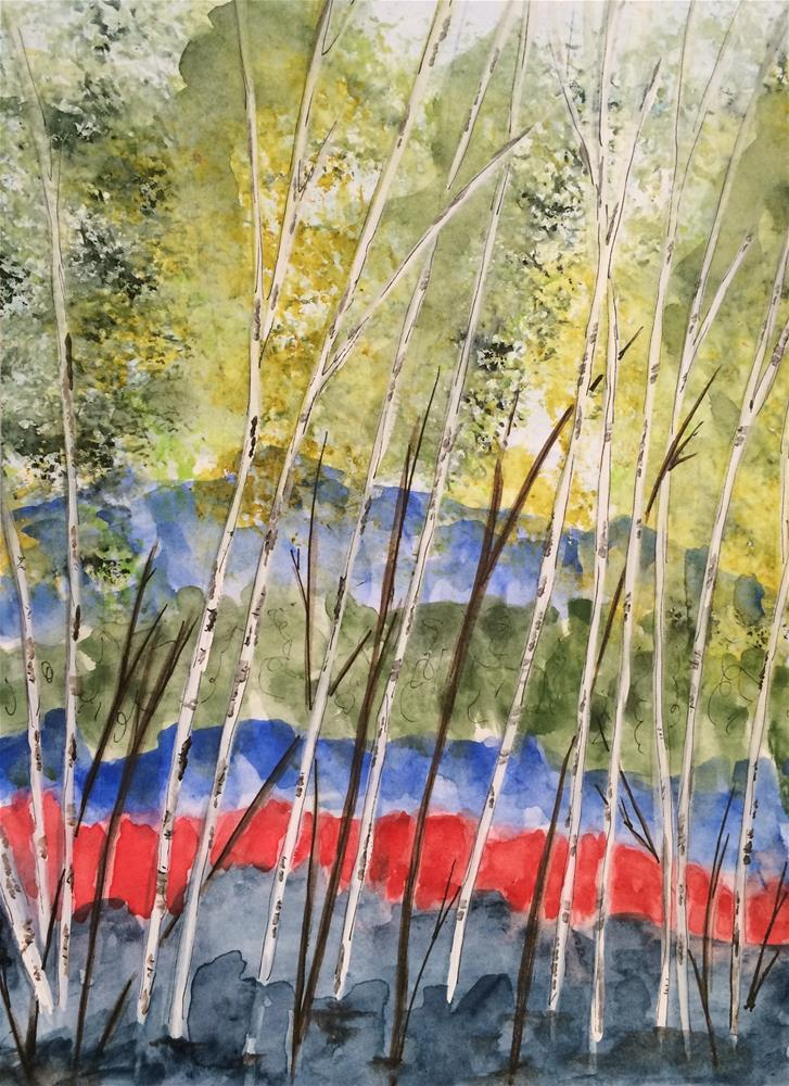 """Aspen Grove 9 x 6 watercolor/ink"" original fine art by Nancy Beard"