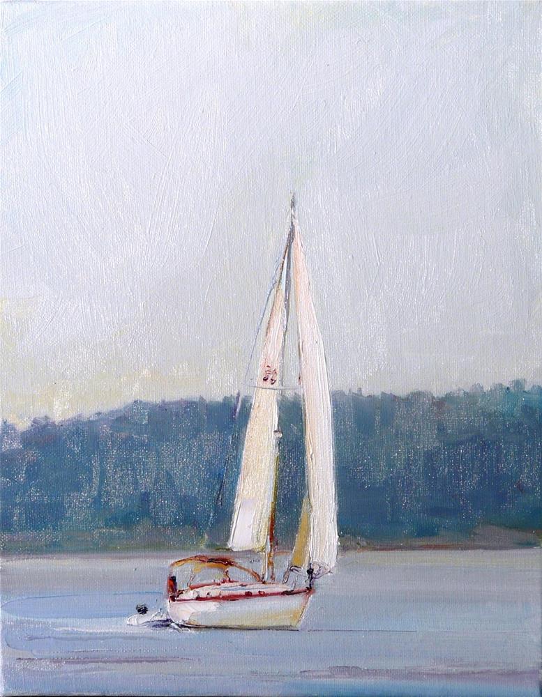 """Sailing in Morning Mist,seascape,oil on linen,10x8,price$400"" original fine art by Joy Olney"
