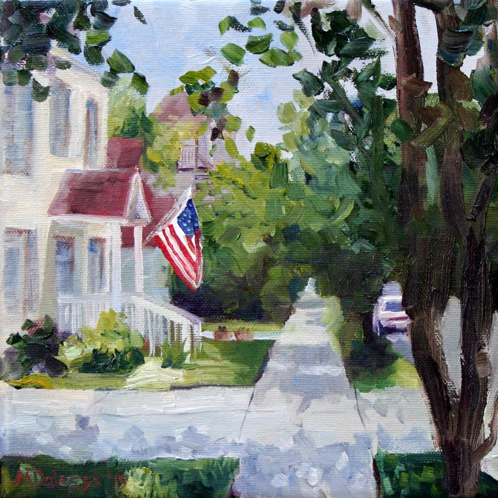 """the house with the flag"" original fine art by Miranda Dalessi"