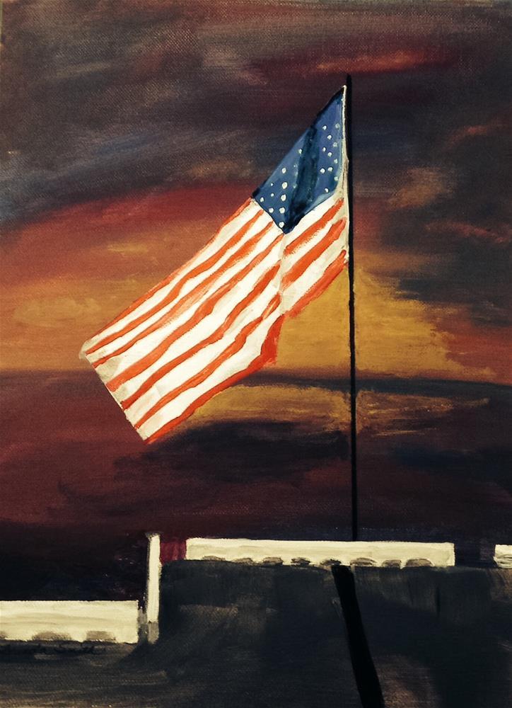 """Old Glory on a Battleship"" original fine art by Brenda Smith"