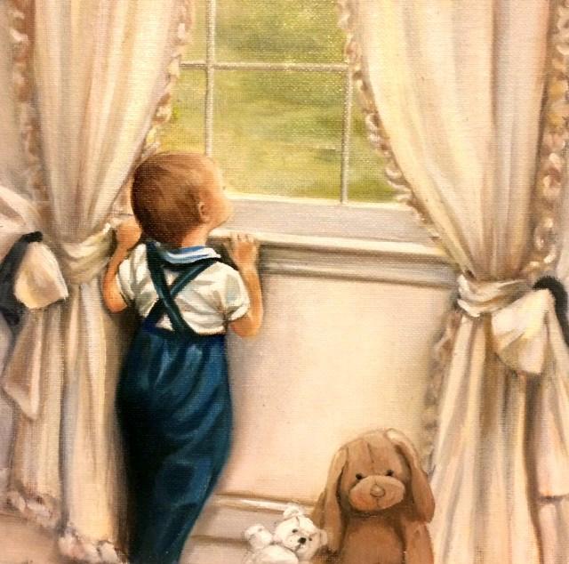 """""""Baby Gray & Pup"""" original fine art by Beth Moreau"""