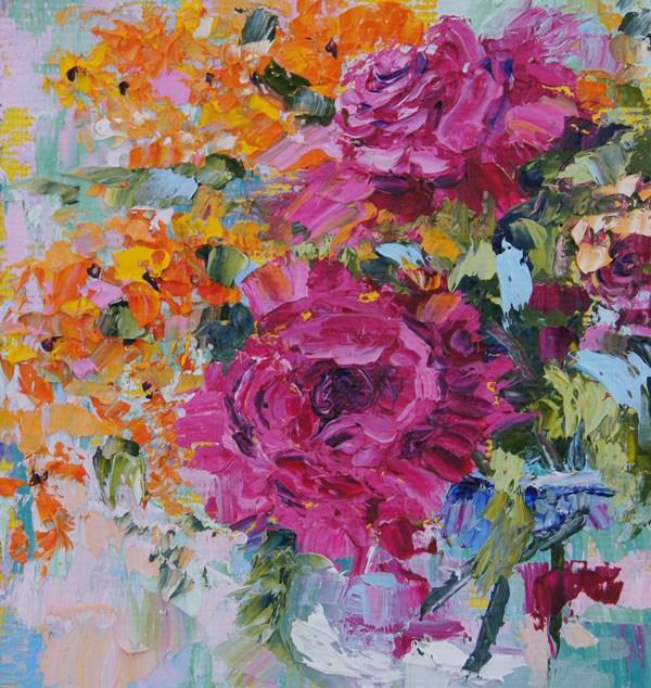 """""""Rose flower arrangement 5 palette knife painting"""" original fine art by Marion Hedger"""