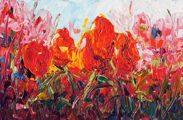 """Field of Tulips, Miniature Treasue palette knife painting, 4x6"" original fine art by Marion Hedger"