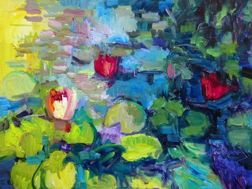 """Mission Lotus Pond"" original fine art by Carol Steinberg"