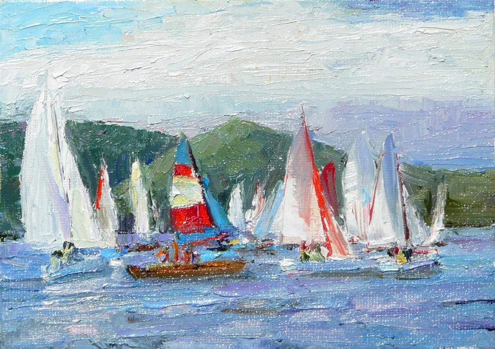 """Sailing in the Northwest,seascape,oil on canvas,5x7,price$100"" original fine art by Joy Olney"
