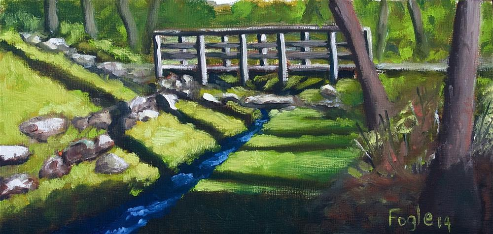 """Footbridge at Bidwell"" original fine art by Rachel Fogle"