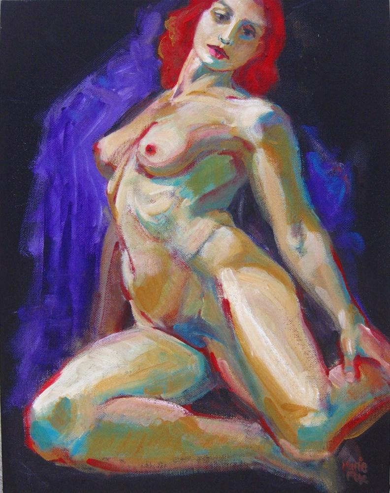 """Female Nude Original Colorful Painting of Woman by contemporary realism figurative painter"" original fine art by Marie Fox"