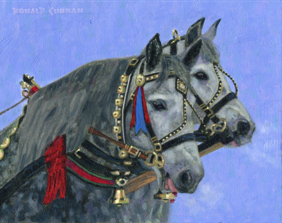 """Winter Horses"" original fine art by Donald Curran"