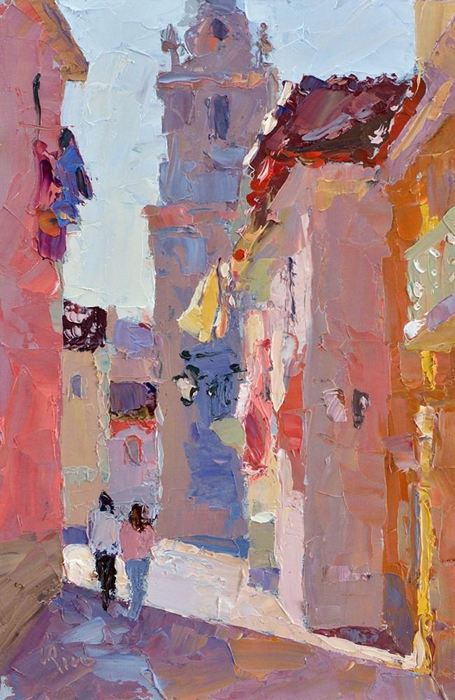 """The Church Square - Seixal"" original fine art by Lena  Rivo"