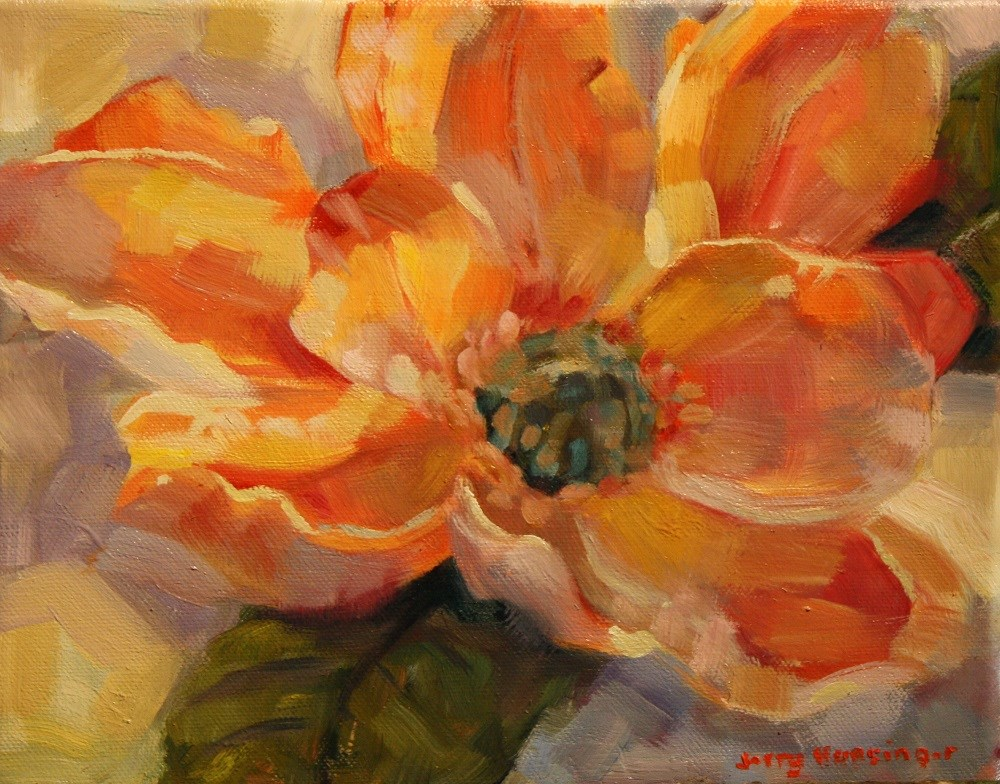 """Orange Magnolia Flower"" original fine art by jerry hunsinger"