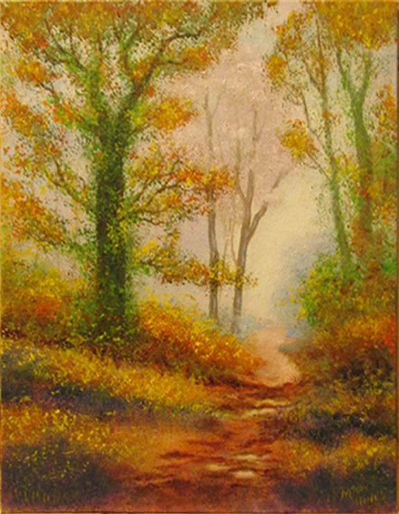 """Autumn Path 1"" original fine art by Mary Sylvia Hines"