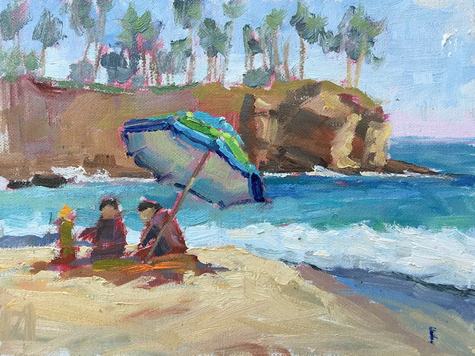 """Day at the Beach"" original fine art by Deborah Newman"