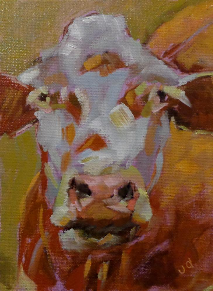 """Cow 30...I have time on my side"" original fine art by Jean Delaney"
