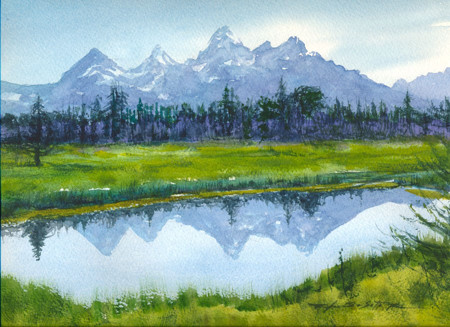 """Tetons Reflected"" original fine art by Rafael DeSoto Jr."