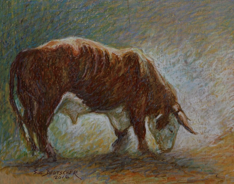 """Angry Bull Digs Dirt - Still Mad"" original fine art by Sue Deutscher"