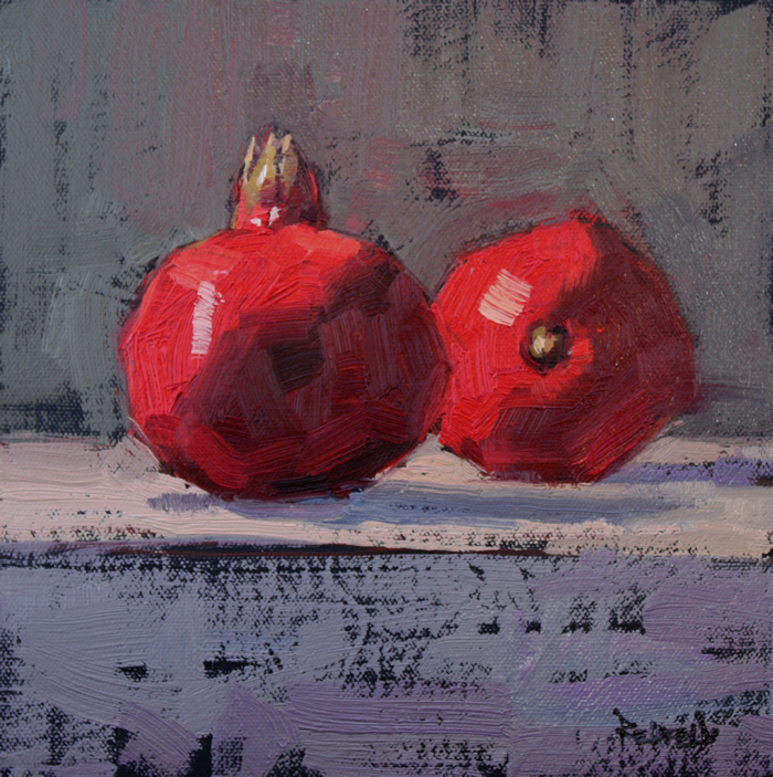 """Two Pomegranates"" original fine art by Cathleen Rehfeld"
