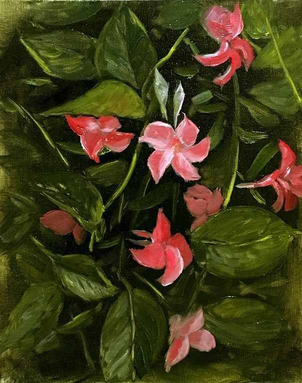 """Pink Flower Vine"" original fine art by Mary Datum"