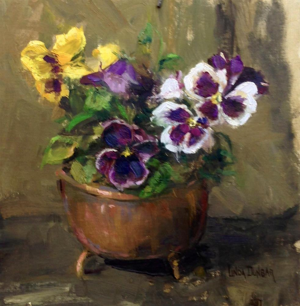 """Pansies with Penix"" original fine art by Linda Dunbar"