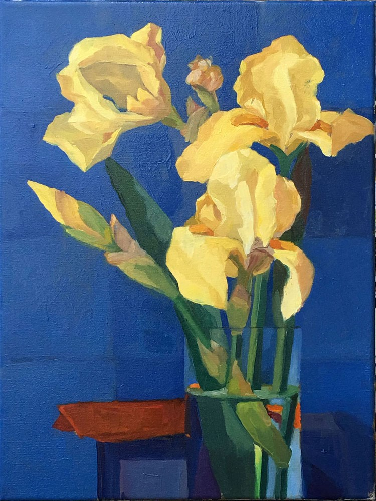 """Yellow Irises"" original fine art by Myriam Kin-Yee"