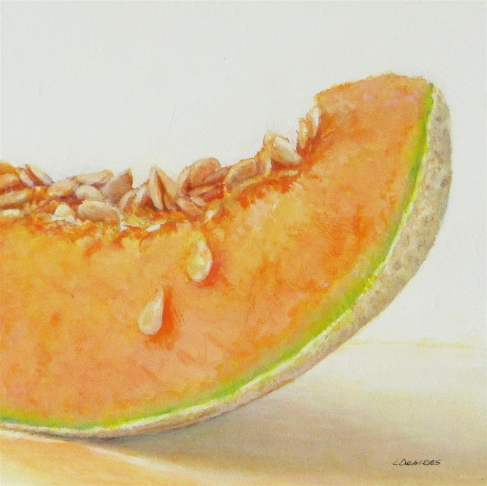 """Cantaloupe Slice"" original fine art by Linda Demers"