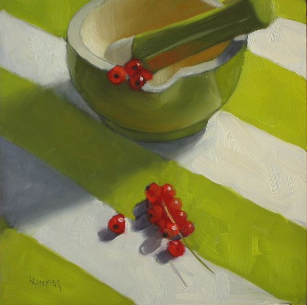 """Red Currents 6x6 oil on panel"" original fine art by Claudia Hammer"