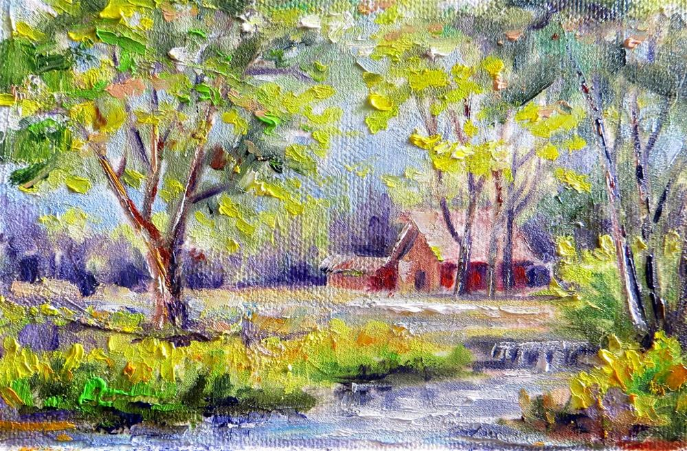 """Babbling Brook on the Farm"" original fine art by Tammie Dickerson"